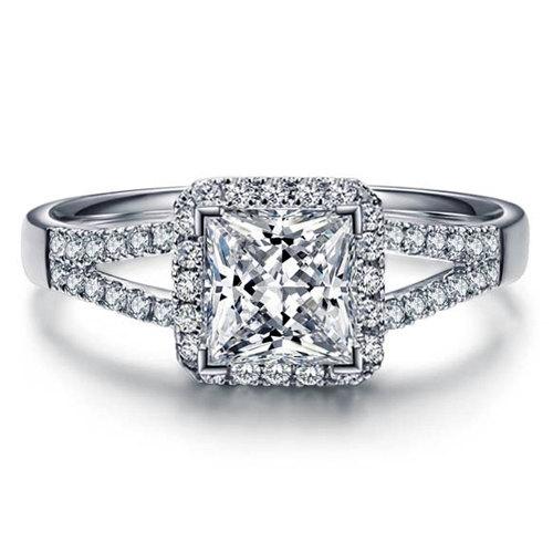 Mariage - Forever Brilliant Princess Moissanite Engagement Ring with Diamonds 950 Platinum Setting Diamond Ring