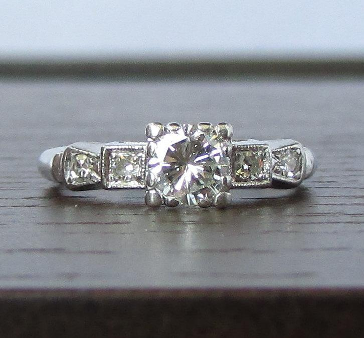 Mariage - PLATINUM Vintage Diamond Engagement Ring - VS1, G Color -Gorgeous! GIA Appraisal Included - 3,080 USD
