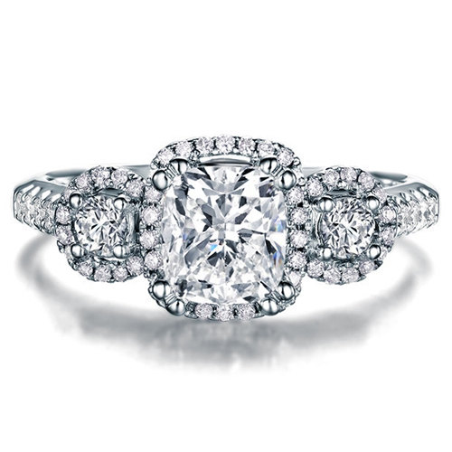 Mariage - Cushion Shape Brilliant Moissanite Engagement Ring with Diamonds 14k White Gold or 14k Yellow Gold Diamond Ring