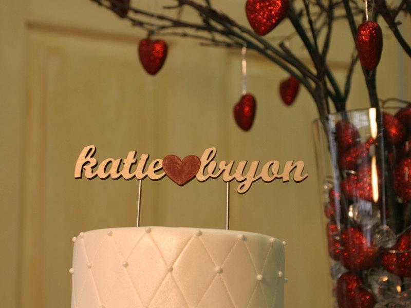 Hochzeit - Wood Name Cake Topper