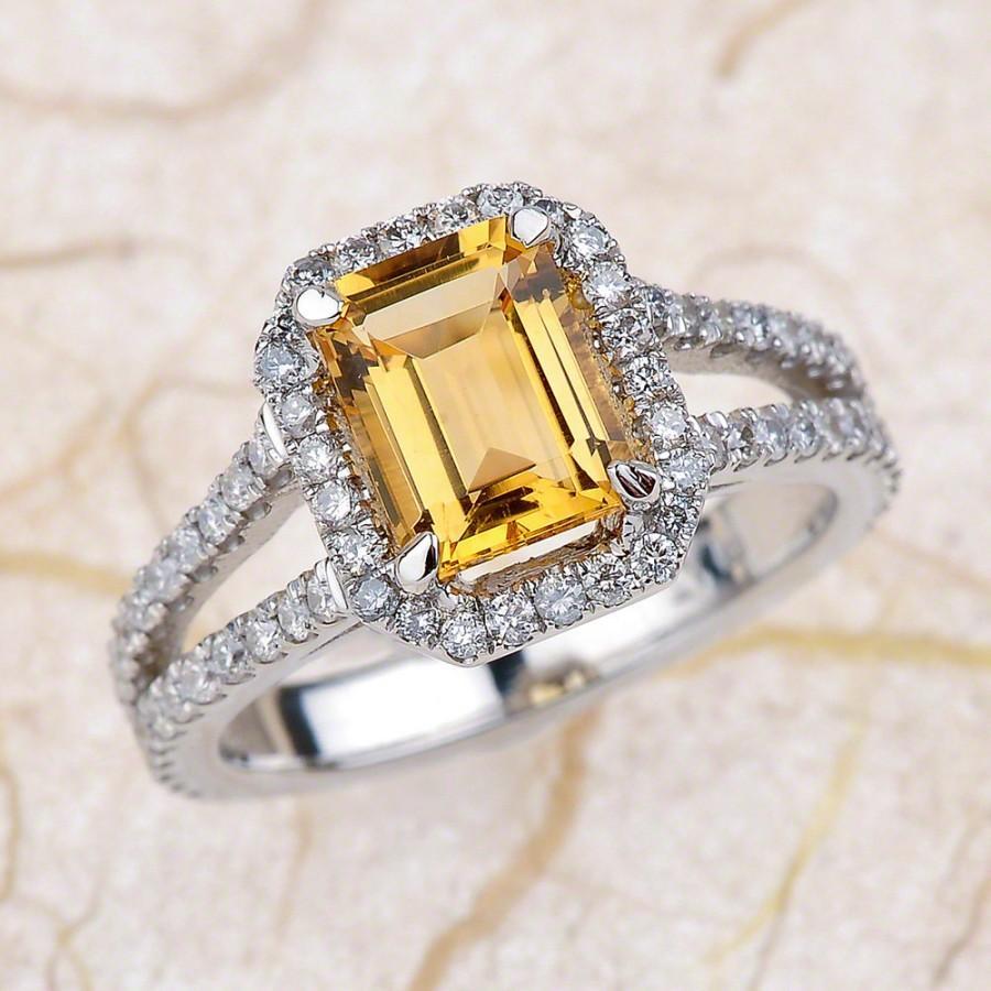 زفاف - Yellow Topaz Engagement Ring - 14kt white gold diamond engagement ring  .85 ctw G-VS2 quality diamonds