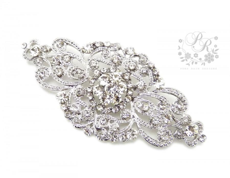 زفاف - Wedding brooch Rhinestone brooch adornment, Sash Applique, Buckle, Hair comb, Clutch Bridal Jewelry Aimee
