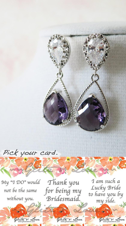 زفاف - Magda- Silver Amethyst Teardrop Crystal Earrings, gifts for her, purple Bridesmaid Earrings, Bridal, purple Wedding Jewelry, Cubic Zirconia