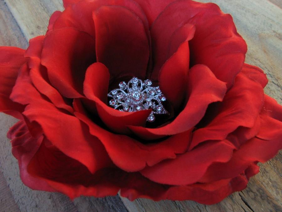 Red rose flower fascinator bridal floral brooch pin bridesmaid red rose flower fascinator bridal floral brooch pin bridesmaid rhinestone head piece silk flower headband cake topper ring bearer pillow mightylinksfo