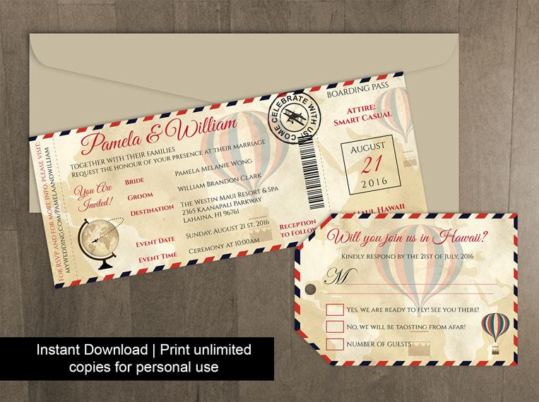 DIY Printable Wedding Boarding Pass Luggage Tag Template #2450328 ...