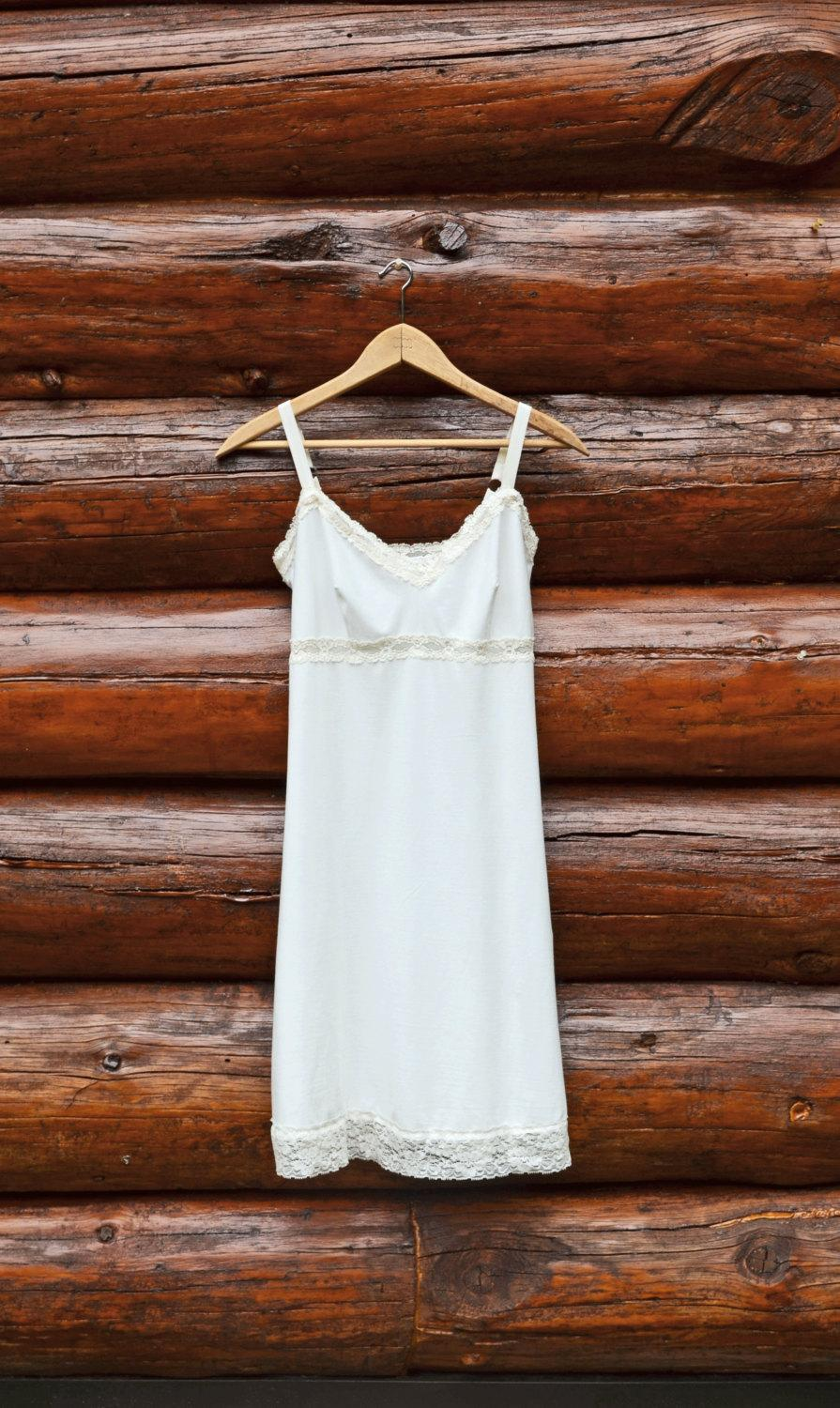 Свадьба - Organic Full Slip Off White Organic Cotton Soy Lingerie w/ your color of Lace Dress Extender Sexy Chemise Soft Nightie Sleepwear Eco