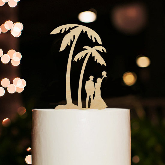 Свадьба - Silhouette Bride and Groom Cake Topper,Wedding Cake Topper,Beach Cake Topper,Palm Tree Cake Topper,Personalized Cake Topper,Wedding Decor