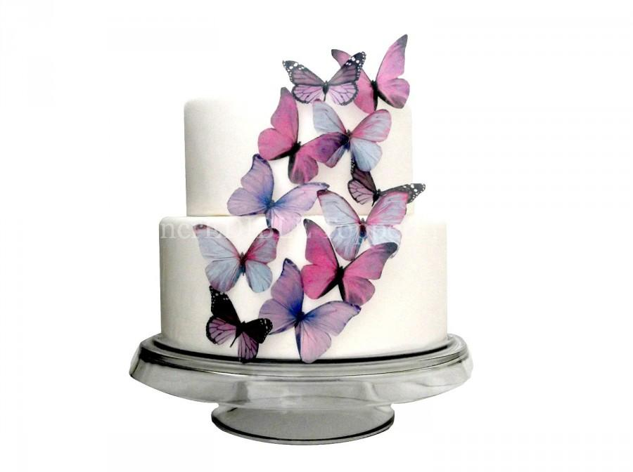Boda - EDIBLE BUTTERFLY Cake - 12 Large Prettiest Purple - Cupcakes, Cake Decorations, Toppers