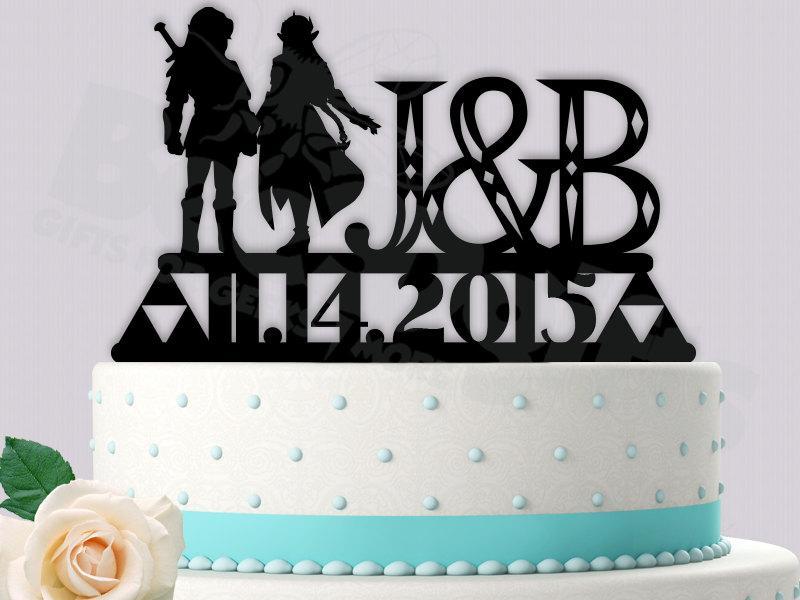 Link And Zelda Gamer Cake Topper Legend Of Zelda Wedding 2450346
