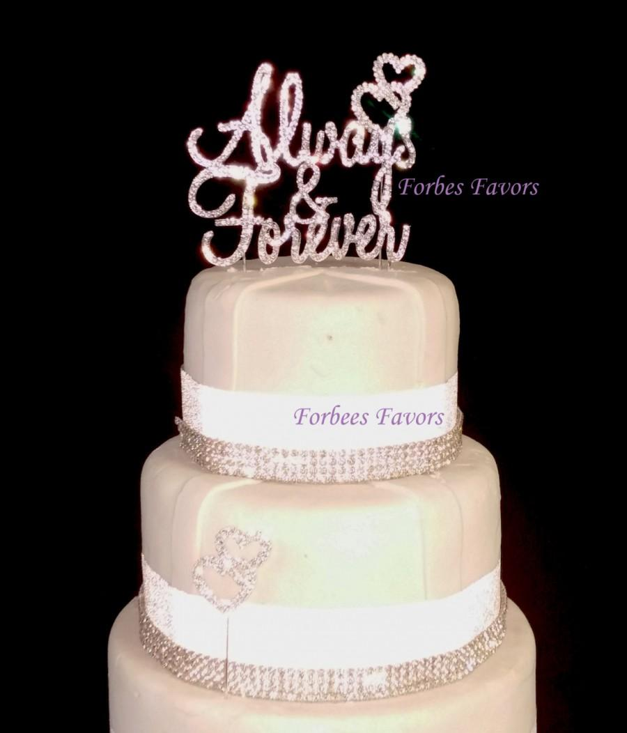 Wedding - Real Rhinestone Always and Forever With Diamond Set of 3 Silver Wedding Love Cake Topper By Forbes Favors