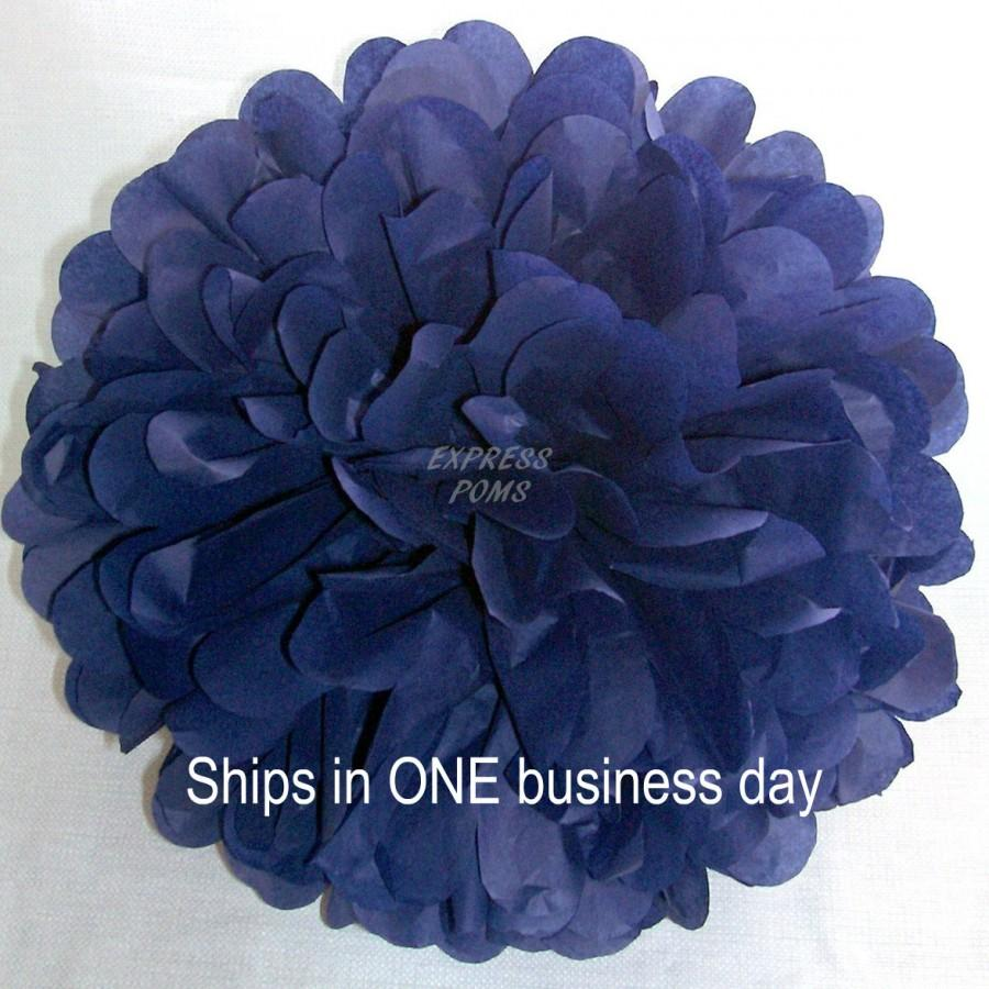 Mariage - Navy Blue Tissue Paper Pom Pom - 1 Medium Pom - 1 Piece - Ships within ONE Business Day - Tissue Poms - Tissue Pom Poms, Choose Your Colors!