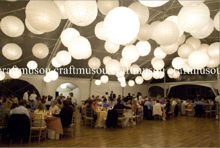 Perfect 40 Paper Lantern Led Set Chinese Round White Lanterns 6 8 10 12 14 16 18 Wedding Party Fl Event Sky Decoration