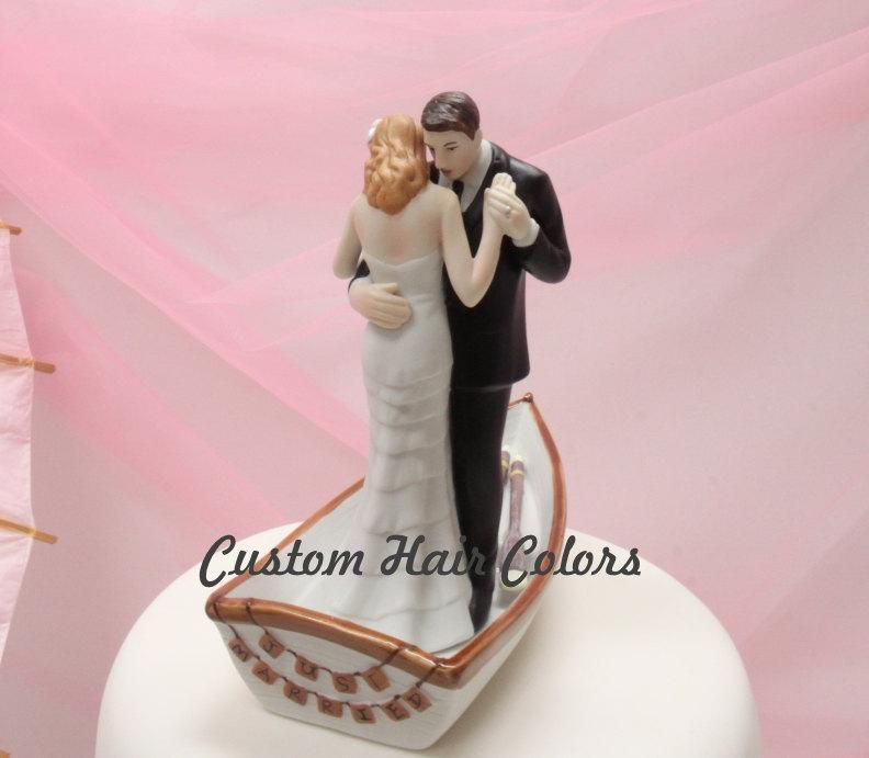 Mariage - Wedding Cake Topper - Personalized Bride and Groom Wedding Cake Topper - Romantic Rowboat Couple -  Romantic Cake Topper - Nautical