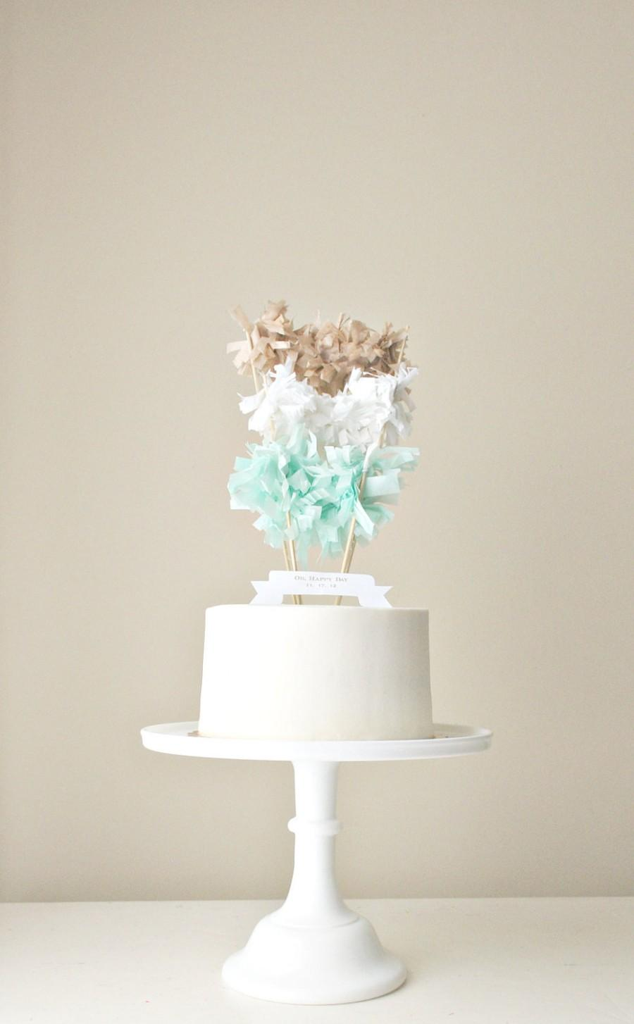 Свадьба - Multi-Fringe-Garland Cake Topper (You choose colors) with Custom Banner. Color Blocking Meets Cake.
