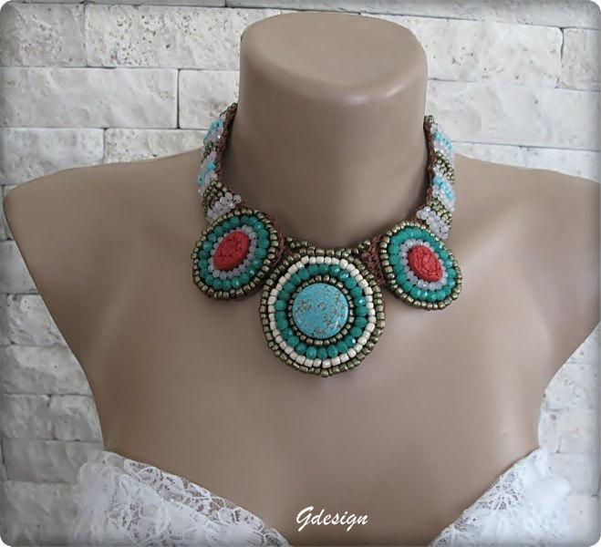 زفاف - Authentic-ethnic Handmade semiprecious  stone necklace,colorful seed beads,cyrstal beads,green,authentic.OOAK.Made to order