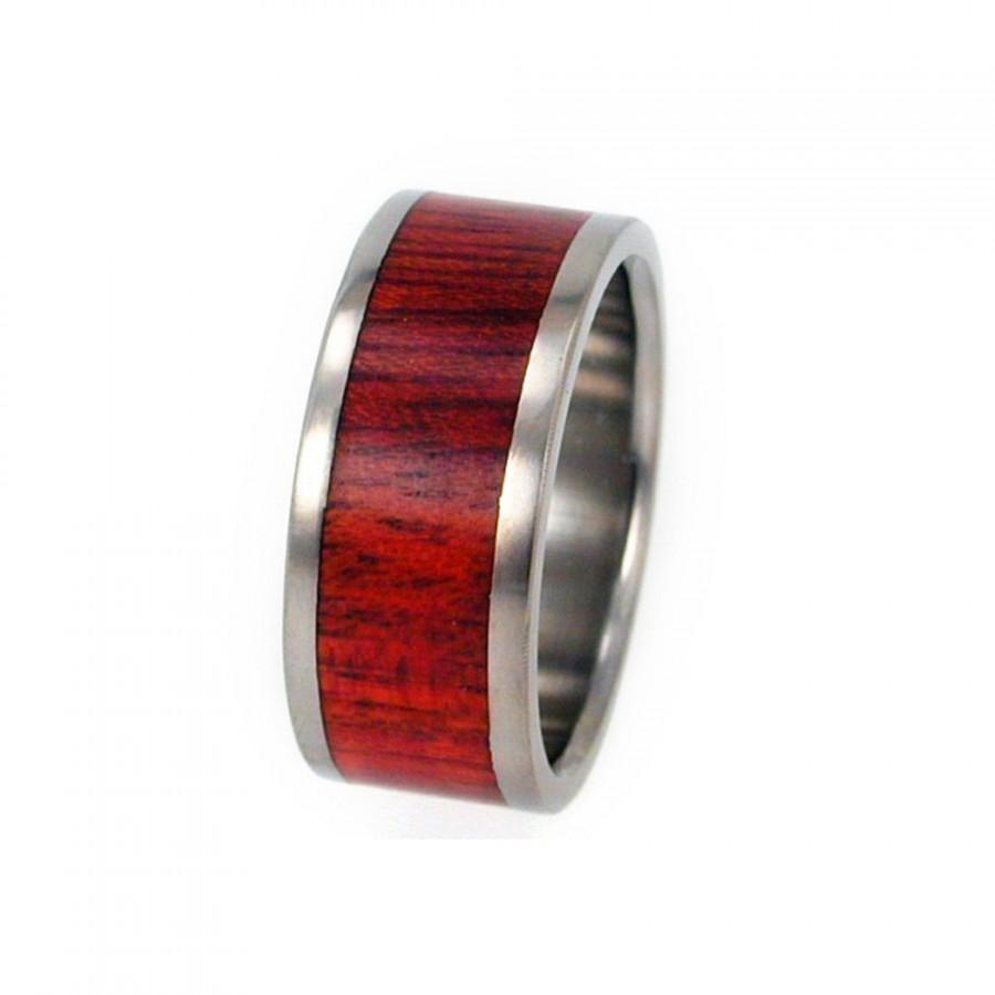 Mariage - Blood Wood Ring, Titanium Ring, Wooden Wedding Band, Ring Armor Included