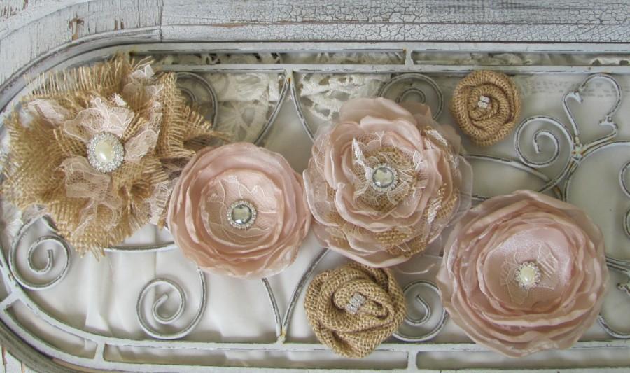 زفاف - Burlap Cake Flowers, Fabric Cake Flowers, Burlap Cake top, Burlap Wedding, Rustic Cake flowers, Rustic Cake top, Cake Decor, Set of 6