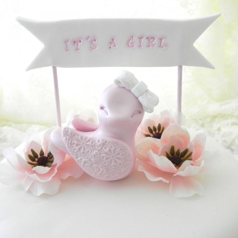 "Свадьба - Baby Shower Cake Topper -  Pink Baby Girl Bird -  ""It's A Girl"" Banner, New Mommy Gift, Keepsake, Nursery Decor"