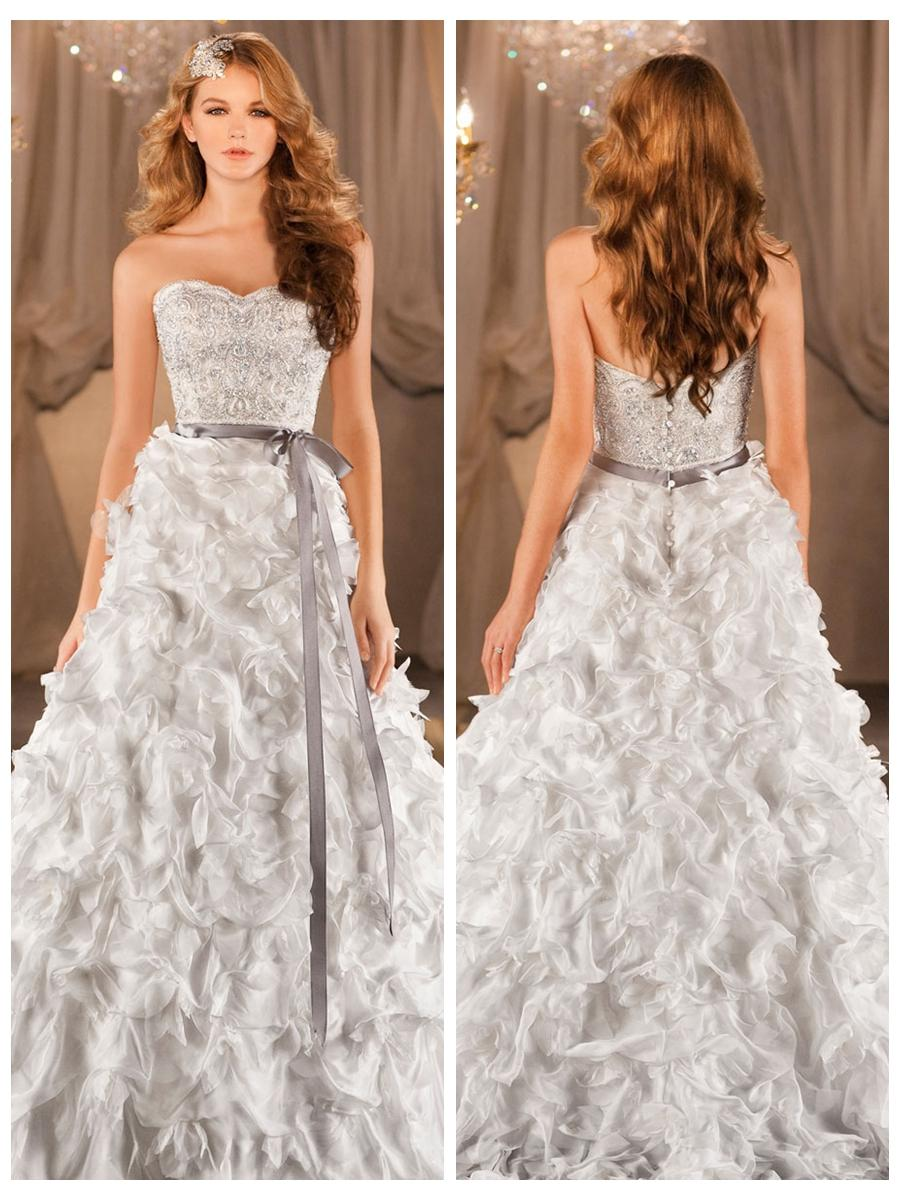A-line Sweetheart Beading Bodice Wedding Dress With Dramatic ...