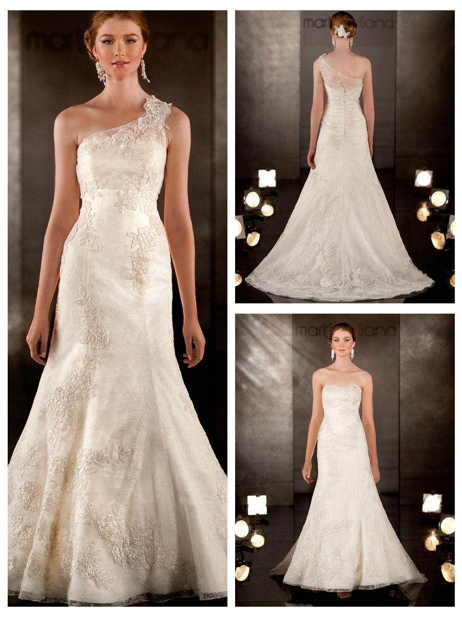 Свадьба - A-line Lace Embroidered Wedding Dress with Detachable Asymmetrical Lace Shoulder Strap