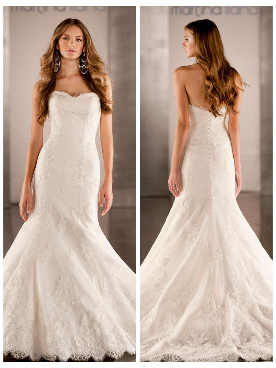 Timeless fit flare sweetheart embroidered lace mermaid for Lace fit flare wedding dress
