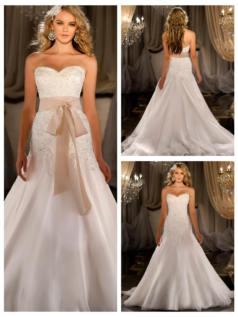 Свадьба - A-line Beaded Lace Bodice Wedding Dress with Flowing Chapel Train