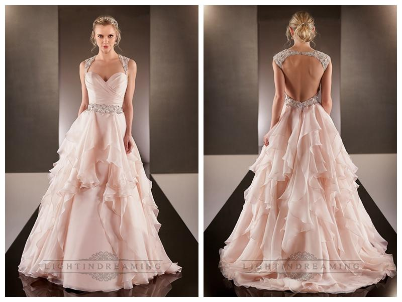Cap Illusion Sleeves Asymmetrical Ruched Bodice A-line Wedding ...