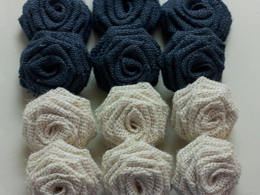 Mariage - Navy Blue Burlap Flowers, Navy Blue Burlap Roses, Oyster Burlap Flowers,Blue Burlap Flowers,Burlap Roses, Rustic Wedding Decor,Blue Burlap