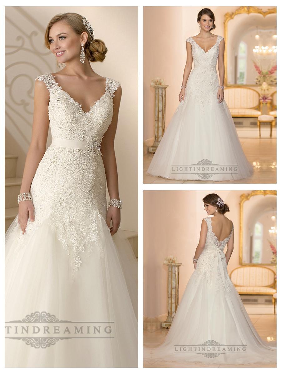 Cap sleeves v neck a line lace beaded deep v back wedding for V neck lace wedding dress
