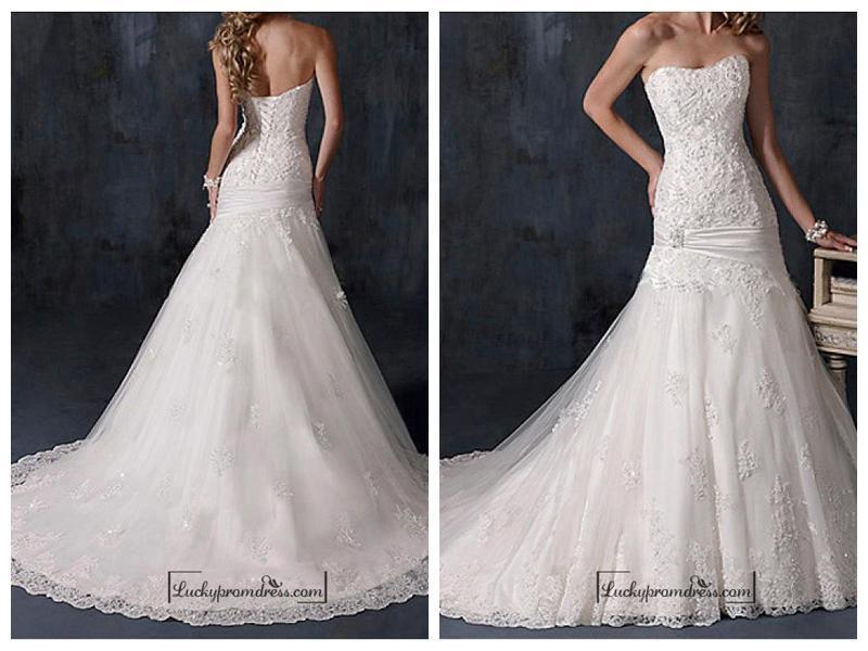 زفاف - Beautiful Satin Strapless Wedding Dress