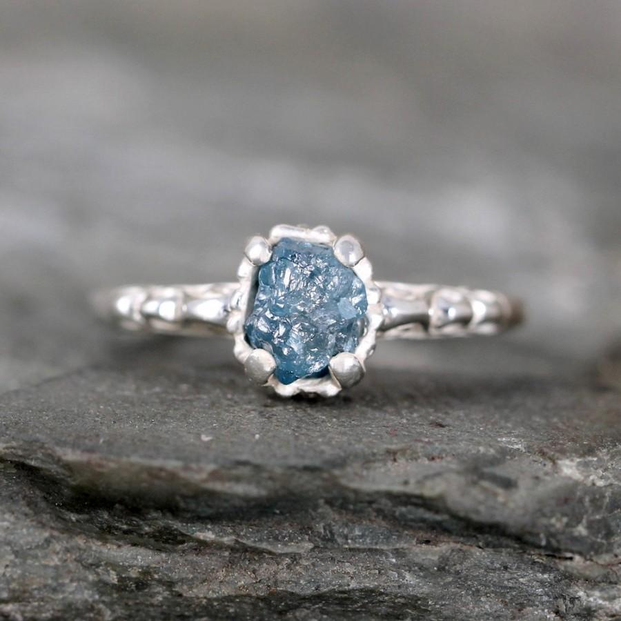 Filigree Style Blue Diamond Ring