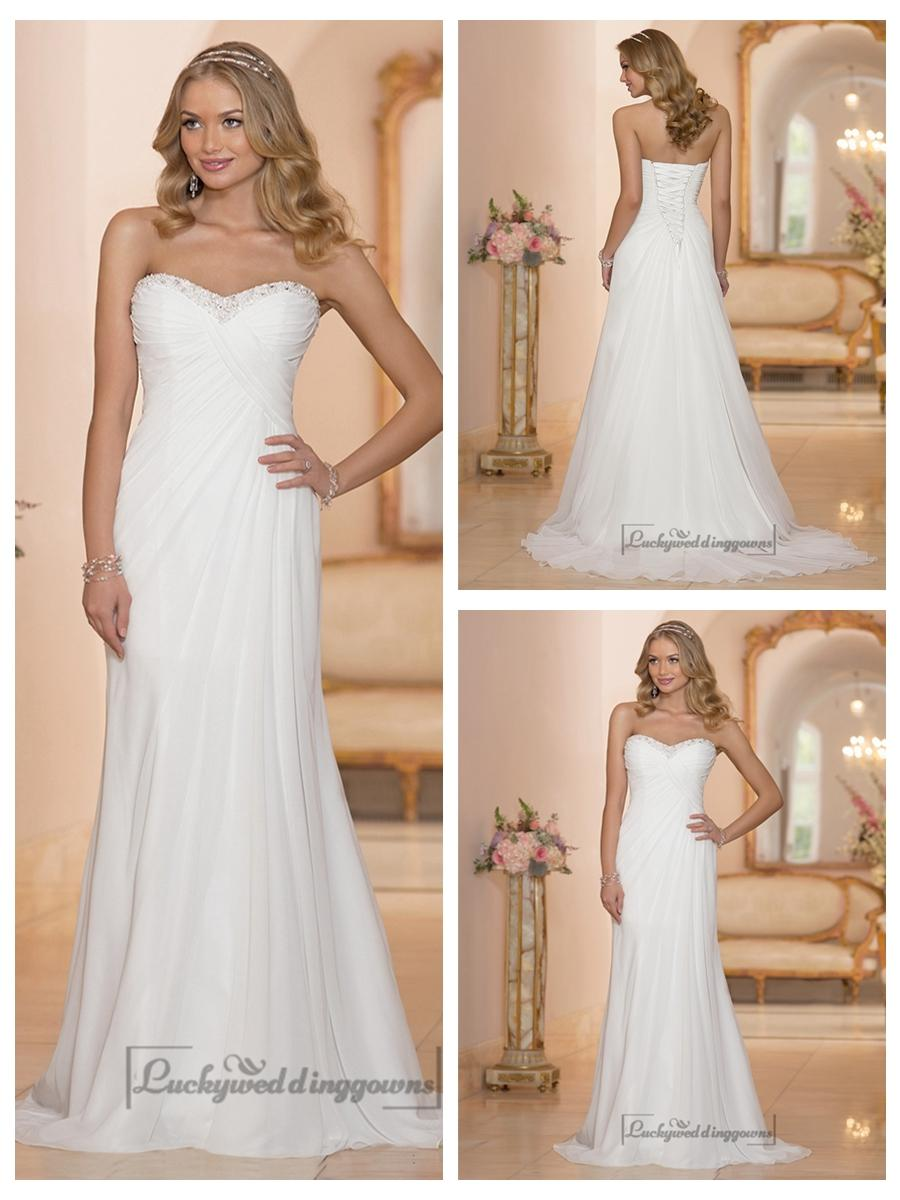 Chiffon sheath sweetheart criss cross ruched bodice for What is ruching on a wedding dress