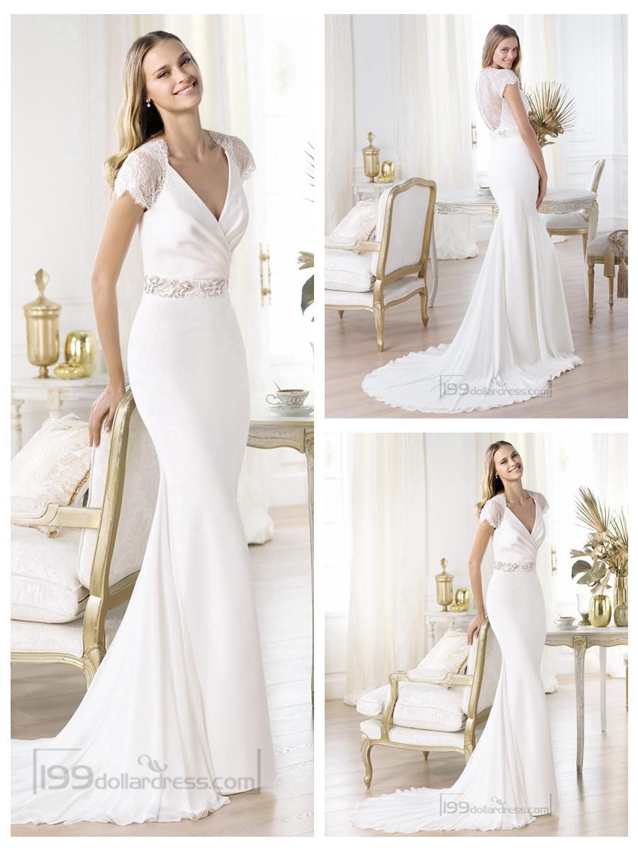 Wedding - Elegant Short Sleeves Plunging V-neck Mermaid Illusion Back Wedding Dresses Featuring Crystal