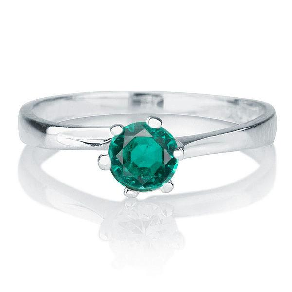 Twist Emerald Engagement Ring, 14K White Gold Ring, 0.30