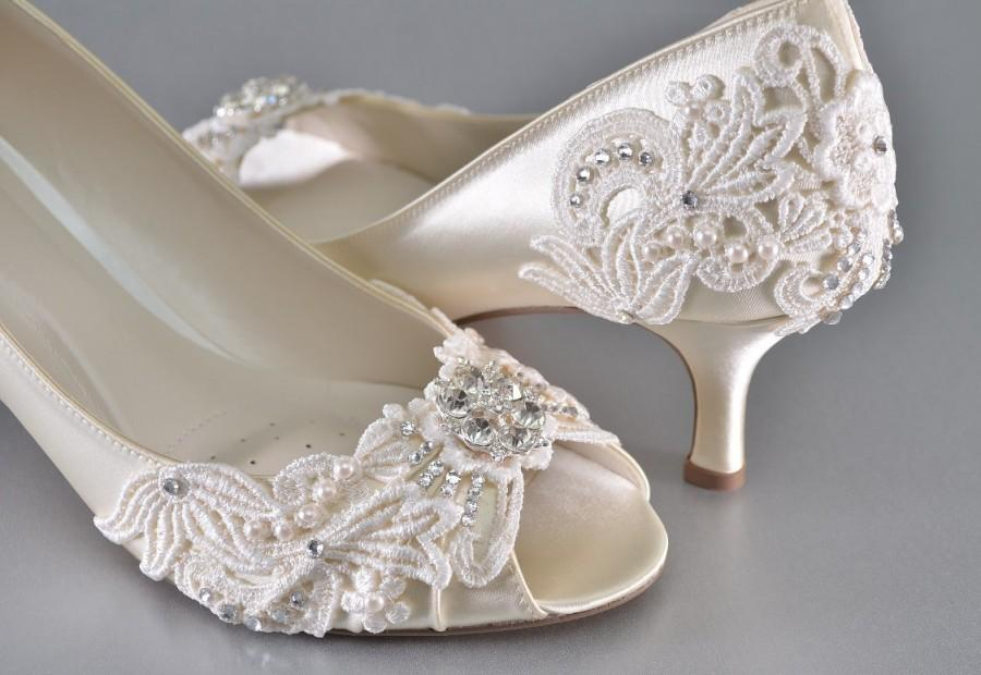 Womans Low Heel Wedding Shoes Womans Vintage Wedding Lace Peep Toe Heels Womens Bridal