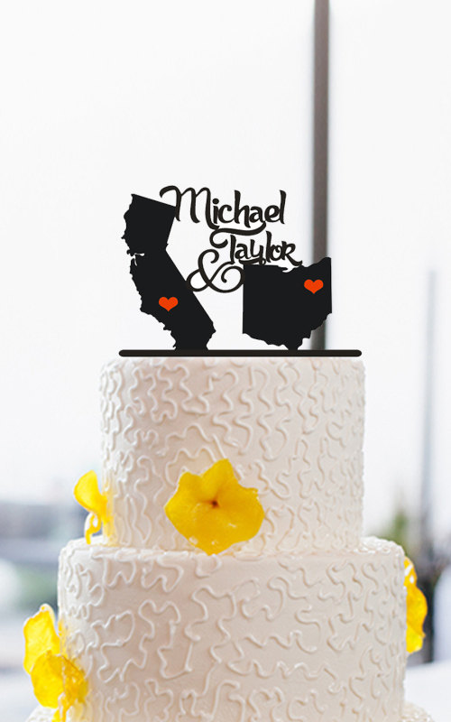 Свадьба - State Love Cake Topper-Couples Name Cake Topper-Wedding Cake Topper-Custom Cake Topper-Unique Cake Topper-Destination Cake Topper