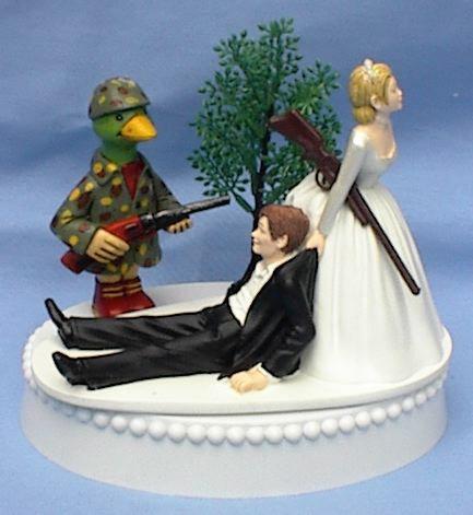 Wedding - Wedding Cake Topper Duck Hunter Hunting Rifle Themed w/ Bridal Garter Water Fowl Bird Wildlife Bride Groom Reception Item Centerpiece Funny