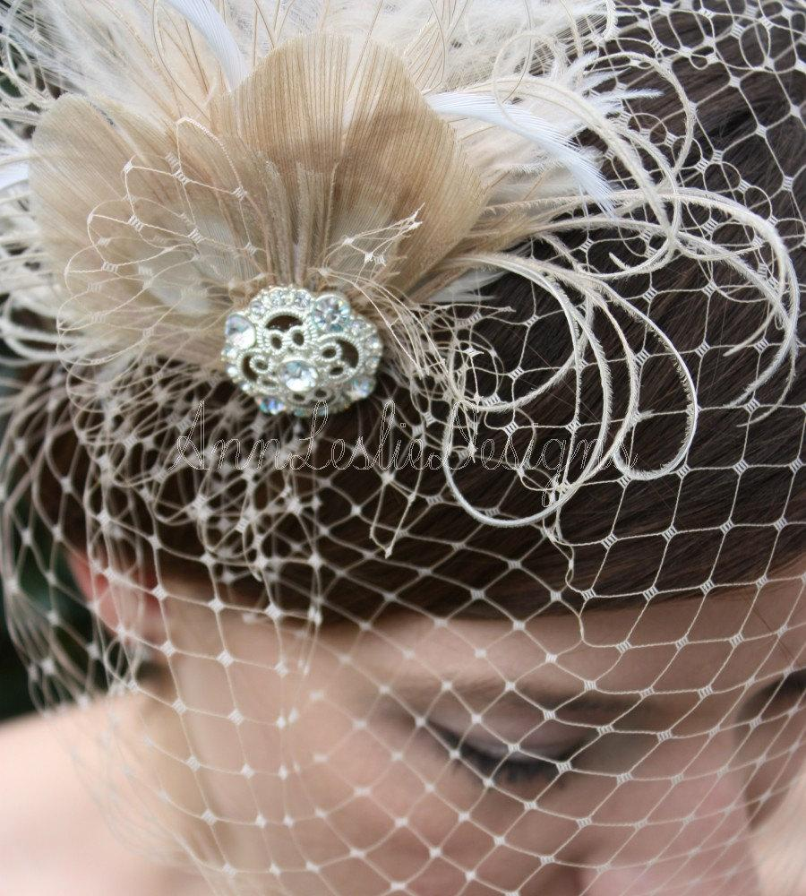 زفاف - As Seen in Style Me Pretty -  Champagne Birdcage Veil with Feather Fascinator - Made to Order