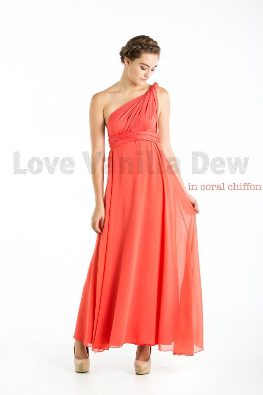 1bc151c72f2b Bridesmaid Dress Infinity Dress Coral with Chiffon Overlay Floor Length  Maxi Wrap Convertible Dress Wedding Dress