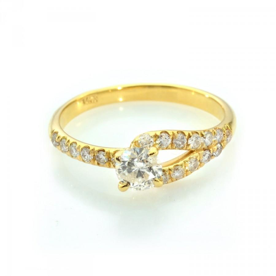 Diamond Engagement Ring  Dainty Engagement Ring  Unique Engagement Ring  Gold  Engagement Ring  Diamond Band  Genuine Engagement Ring