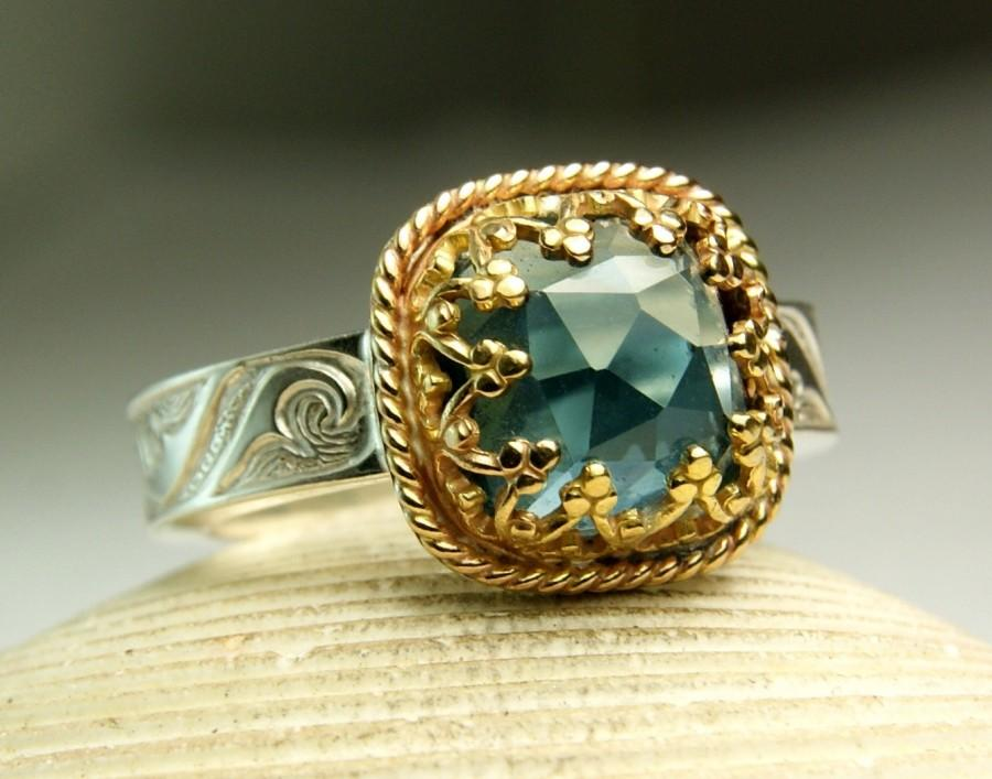 Свадьба - London Blue Topaz Ring, Cushion Cut Gemstone Ring, 14k Gold, Sterling Silver Ring, made to order