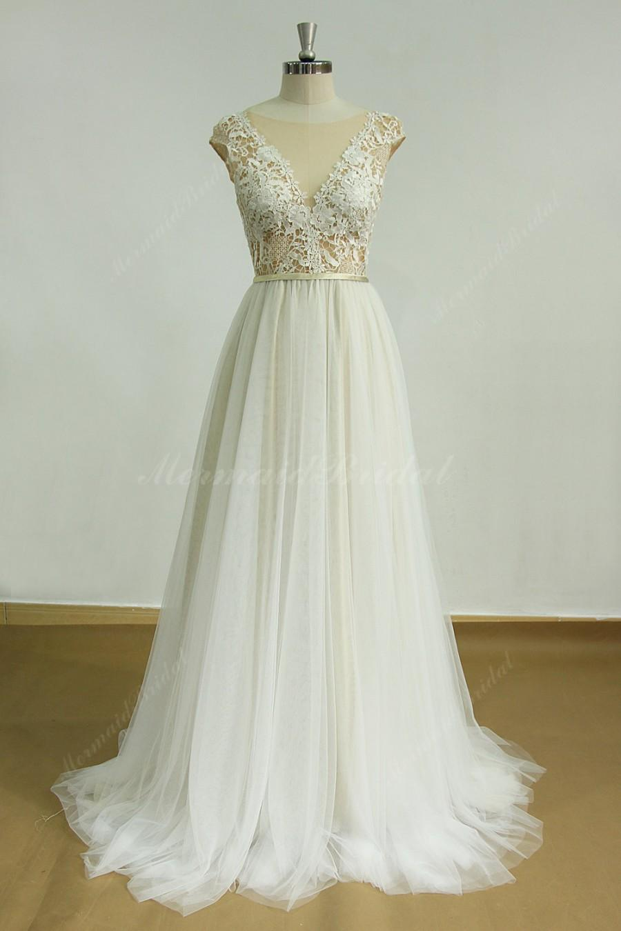 Deep V Cut Open Back Tulle Lace Wedding Dress With Champagne Lining ... 8875f7b87