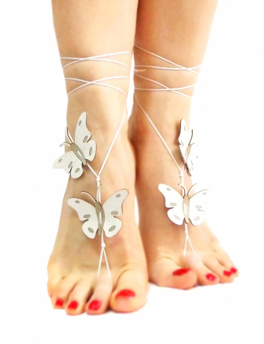 Mariage - 12 Color Options, Butterfly Barefoot Sandal, Genuine Leather Butterfly Anklet