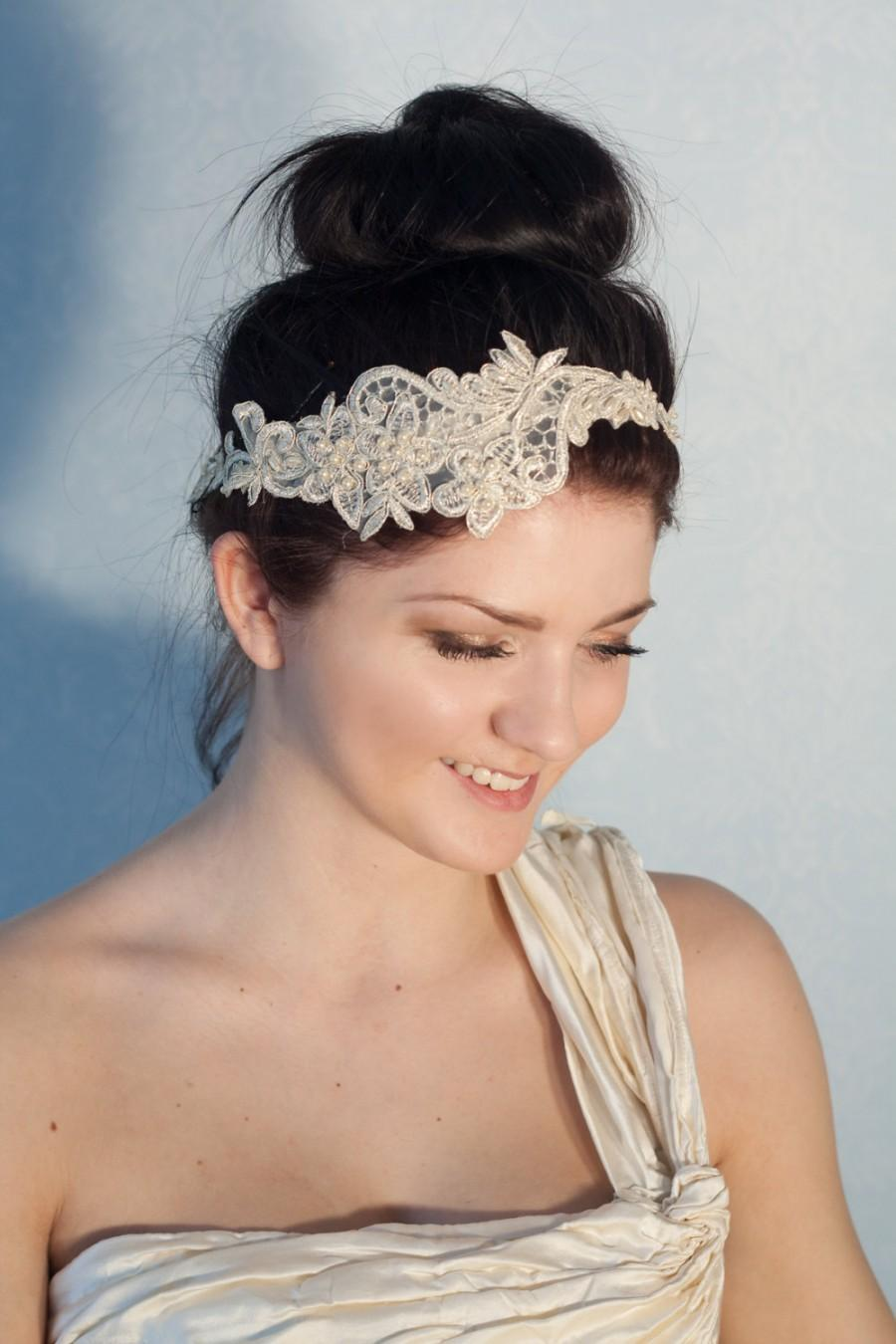 Mariage - Bridal gold lace headband with pearls, boho headband, boho chic bride, bridal headpiece