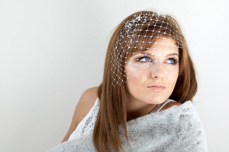 Mariage - Bridal birdcage veil with sparkling rhinestones - ivory or white or black