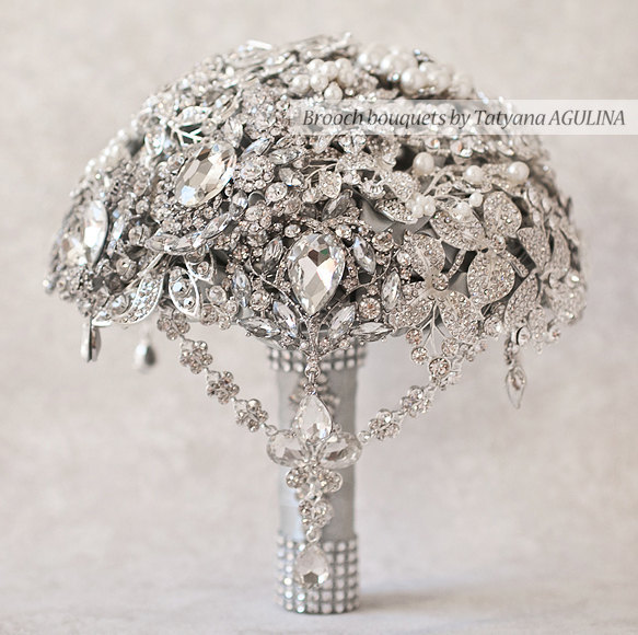Свадьба - Brooch bouquet. The Great Getsby Crystal wedding brooch bouquet, Jeweled Bouquet.
