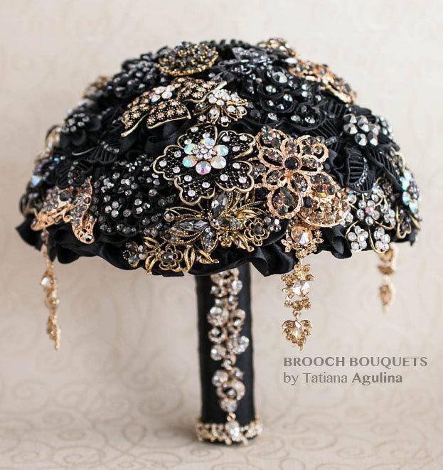 Hochzeit - Brooch bouquet. Black and Gold wedding brooch bouquet, Jeweled Bouquet. Made upon request