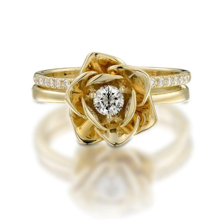 14k Yellow Gold Ring Floral Flower Shape Ring Diamond Ring Engagment Ring