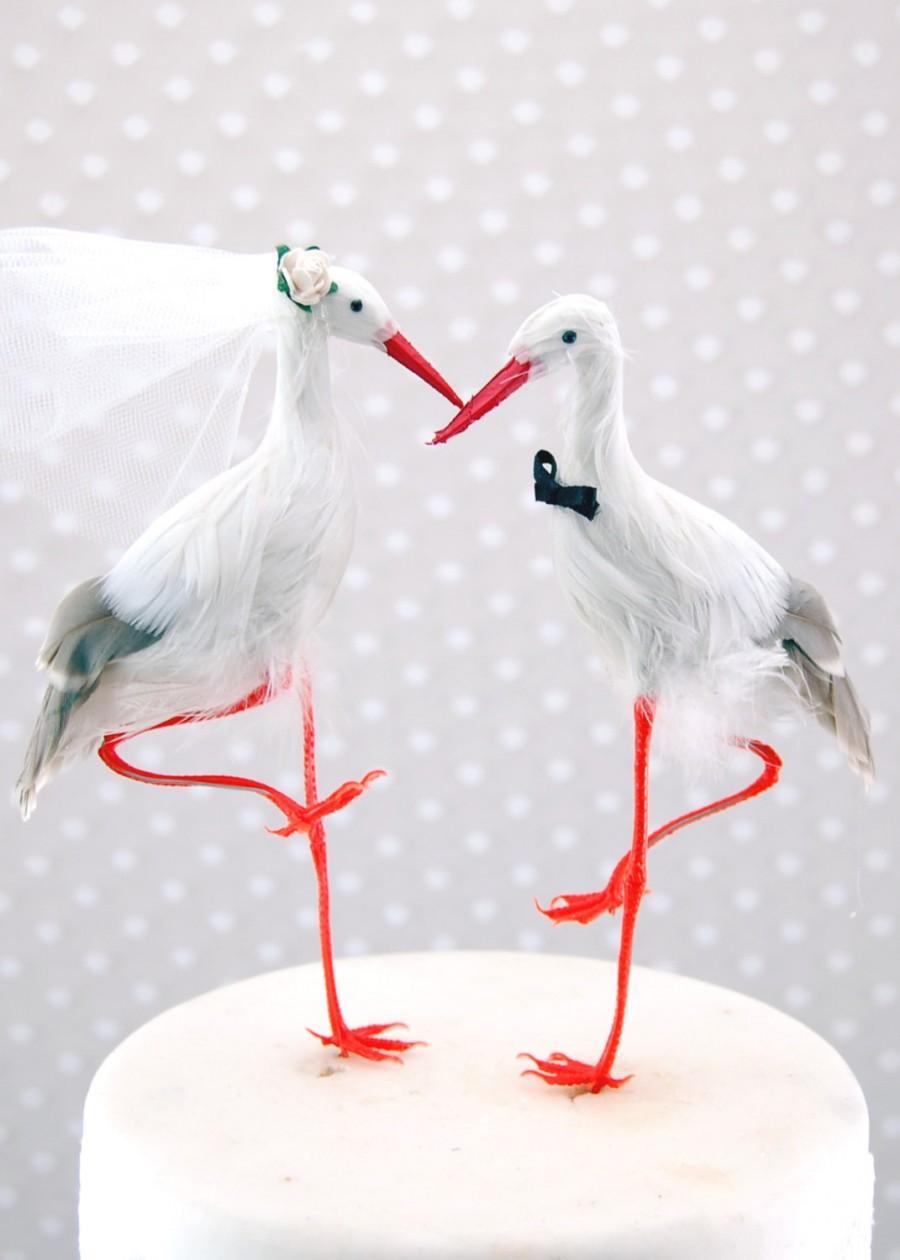 Mariage - Crane Wedding Cake Topper: Seaside Bride and Groom Love Bird Cake Topper  - Stork / Heron / Egret -- LoveNesting Cake Toppers