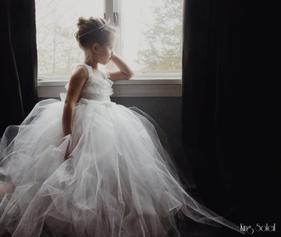 Mariage - Queen Anne's Lace Tulle Flower Girl Dress